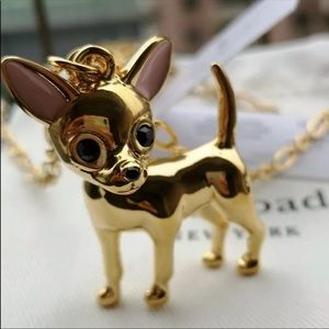 New Kate Spade Gold Tone Chihuahua Necklace